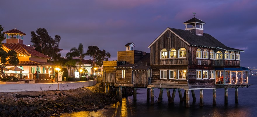 San Diego Pier Cafe as Night Falls